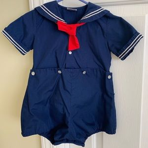 *Petit Ami Boy Navy Blue Sailor Short Pants Romper